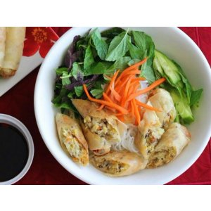 Vermicelli With Vegetarian Egg Rolls